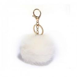 LS Bags White Fluffy POM POM AGC1016